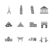 World landmarks silhouette icons set Royalty Free Stock Image