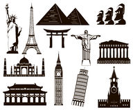 World landmarks silhouettes elements set. Vector. Illustration Stock Photography