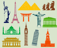 World landmarks silhouettes elements set. Vector Stock Images