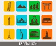 World landmarks silhouettes elements set. Vector stock illustration
