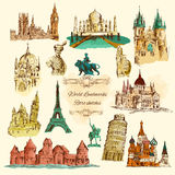 World Landmarks Sketch Vintage Icons Set Royalty Free Stock Image