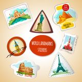 World Landmarks Stickers Stock Image