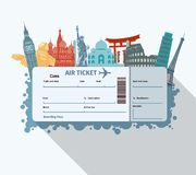 World landmarks ticket Royalty Free Stock Photo