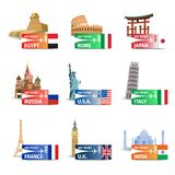 World landmarks ticket set Stock Photos