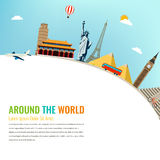 World landmarks. Travel and tourism background. Vector flat. Illustration Royalty Free Stock Images