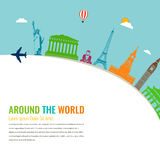 World landmarks. Travel and tourism background. Vector flat. Illustration Royalty Free Stock Image