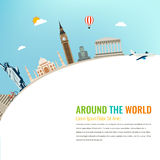 World landmarks. Travel and tourism background. Vector flat. Illustration Royalty Free Stock Photos