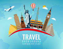 World landmarks. Travel and tourism background. Vector flat illustration. World landmarks. Travel and tourism background. Vector Stock Image