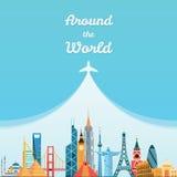 World landmarks. Travel and tourism background. Royalty Free Stock Images