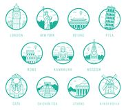 World landmarks. Travel and Tourism. Landmarks icons set. Vector Royalty Free Stock Image
