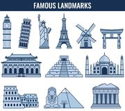 World landmarks. Travel and Tourism. Vector Royalty Free Stock Photography