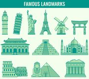 World landmarks. Travel and Tourism. Vector Stock Photography