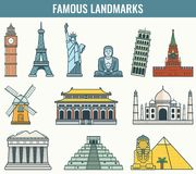 World landmarks. Travel and Tourism. Vector Royalty Free Stock Photo