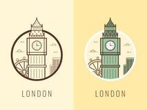 World landmarks. United Kingdom. Travel and tourism background. Line icons. Vector Royalty Free Stock Photography