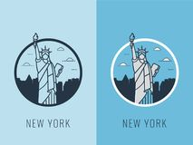 World landmarks. USA. Travel and tourism background. Line icos. Vector Stock Photo