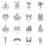 World Landmarks - Vector Line Icon Set - Part II vector illustration