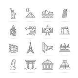 World landmarks vector line icons Stock Image