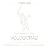 World landmarks. Volgograd. Russia. The Motherland Calls Statue. On the Mamaev Kurgan. For heroes of the Battle of Stalingrad. Graphic template, logos. Linear royalty free illustration