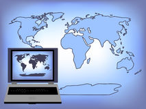 World Laptop Background Royalty Free Stock Images