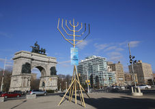 World largest Menorah at Grand Army Plaza in Brooklyn. BROOKLYN, NEW YORK - DECEMBER 14: World largest Menorah at Grand Army Plaza in Brooklyn on December 14 Royalty Free Stock Photo