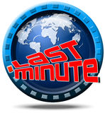 World last minute. Icon round with written last minute, globe and stylized clock Royalty Free Stock Photos