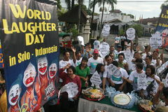 World laughter day. Activist laugh together in order to commemorating world laughter day in solo central java indonesia stock photos