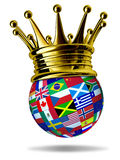 World leader with global flags and gold crown Royalty Free Stock Photography