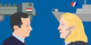 World leaders theme. 07.12.2018 Editorial illustration of the French politician Marine Le Pen and the President of Syria Bashar al-Assad Stock Image
