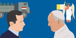 World leaders theme. 07.12.2018 Editorial illustration of Pope Francisco and the President of Syria Bashar al-Assad Royalty Free Stock Photos