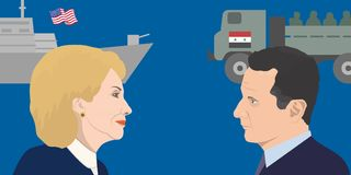 World leadres topic. 02.12.2017 Editorial illustration of Hillary Clinton and Bashar Asad portraits. USA and Syria relations Stock Images