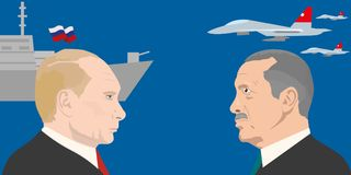 World leadres topic. 02.12.2017 Editorial illustration of Vladimir Putin and Recep Erdogan portraits. Russia and Turkey relations Stock Images
