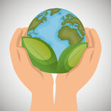 world with leaves hands holds ecology icon Royalty Free Stock Photo