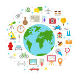 World life icons Stock Images