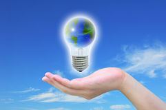 World in light bulb Stock Photography