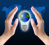 World in light bulb Royalty Free Stock Photography