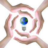 The world in light bulb Royalty Free Stock Image