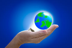 The world in light bulb on the hand. On blue background, protect and peace concept Stock Images