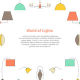 World of Lights colorful concept. Lamp line icons on a white background. Fixture type vector template Stock Images