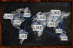 World Like Connection on Blackboard. Background Stock Photos