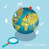World Links. Global communication via aircraft and Stock Images