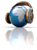 World listening. Abstract 3d illustration of earth globe in headphones Royalty Free Stock Images