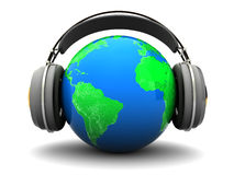 World listening. Abstract 3d illustration of earth globe with headphones, over white background Royalty Free Stock Images