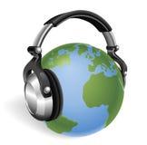 The world listening. The world earth globe listening to music on funky headphones royalty free illustration