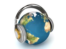 World listening. 3d illustration of the earth with headphones Royalty Free Stock Photos