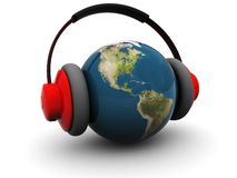 World listening. 3d illustration of earth globe in headphones over white background Stock Photo