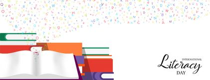 World Literacy Day banner of education books. World Literacy Day web banner illustration of colorful school books for children education and alphabet letters Vector Illustration