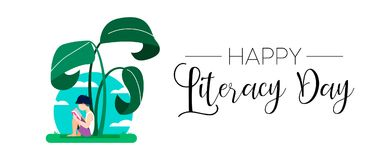 Free World Literacy Day Web Banner For Kid Education Stock Photos - 123913953