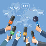 World live news report press concept hands of journalists Royalty Free Stock Photography