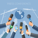 World live news report press hands of journalists Royalty Free Stock Photography