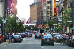 World Loc. Busy St Catherine street in Montreal, Quebec, Canada Royalty Free Stock Images